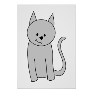Gray Cat Cartoon. Poster