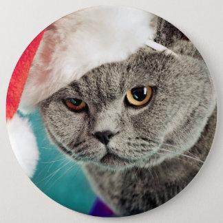 Gray cat christmas - Christmas cat -kitten cat 6 Cm Round Badge