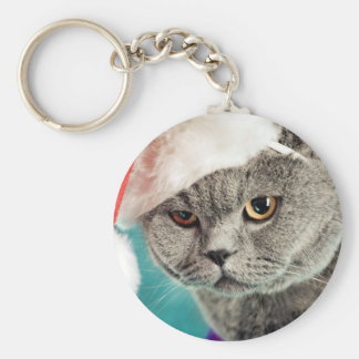 Gray cat christmas - Christmas cat -kitten cat Key Ring