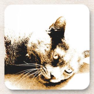 Gray cat coaster