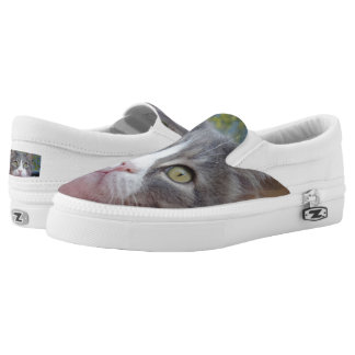 Gray Cat Custom Zipz Slip On Shoes,  Men & Women Printed Shoes