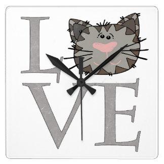Gray Cat Face Clock