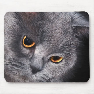 Gray Cat Face Painting Looking Down Mouse Pad