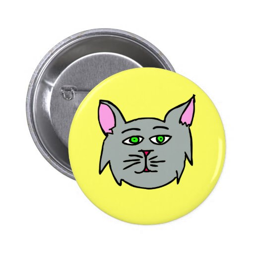 Gray Cat  - I Love Cats! Buttons