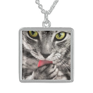 Gray Cat Licking its Paw Necklace