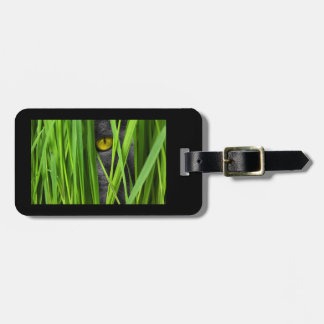 Gray Cat Playing Hide & Seek in the Grass Luggage Luggage Tag
