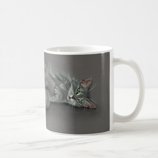 Gray Cat Rolling Over Coffee Mug