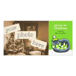 Gray Cat Scarf Christmas Green Stripe Custom Photo Card
