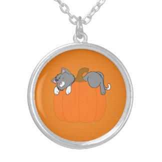 Gray Cat Sleeping on Halloween Pumpkin Round Pendant Necklace
