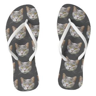 Gray Cat Thongs