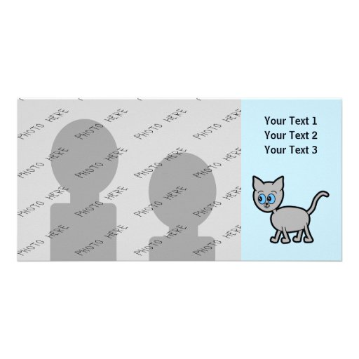 Gray Cat with Blue Eyes. Photo Card Template