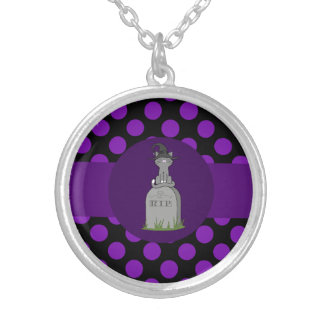 Gray Cat with Grave Stone & Purple Dots Round Pendant Necklace