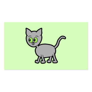 Gray Cat with Green Eyes. Business Card Templates