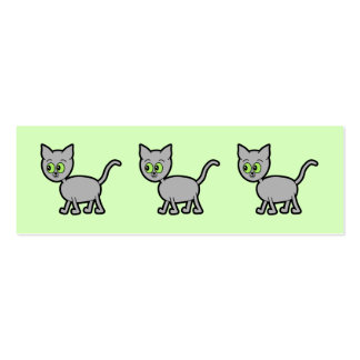 Gray Cat with Green Eyes. Business Cards