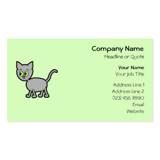 Gray Cat with Green Eyes. Business Card Template