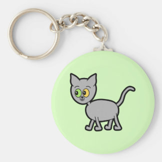 Gray Cat with Odd Eyes Keychains