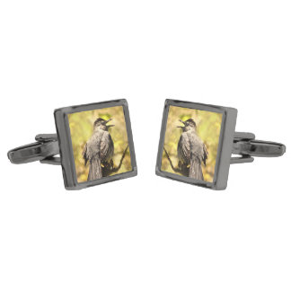 Gray Catbirds Singing Their Song Cufflinks Gunmetal Finish Cuff Links