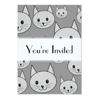 Gray Cats. 13 Cm X 18 Cm Invitation Card