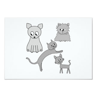 Gray Cats. 9 Cm X 13 Cm Invitation Card