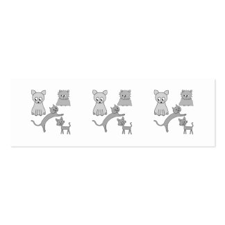 Gray Cats. Pack Of Skinny Business Cards