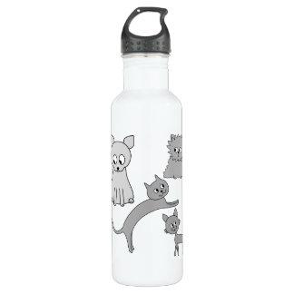 Gray Cats. 710 Ml Water Bottle