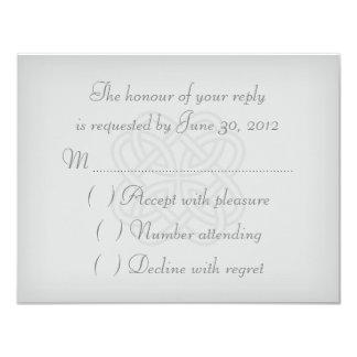 Gray Celtic Knot Wedding Invitation RSVP Card