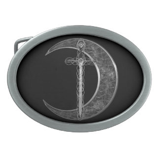 Gray Celtic Sword and Moon Belt Buckle