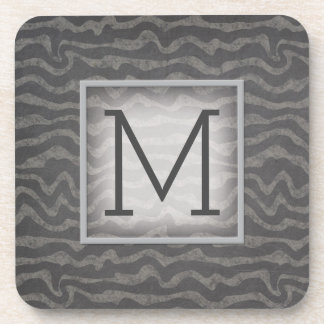 Gray Chalkboard Ocean Waves with Monogram Drink Coasters