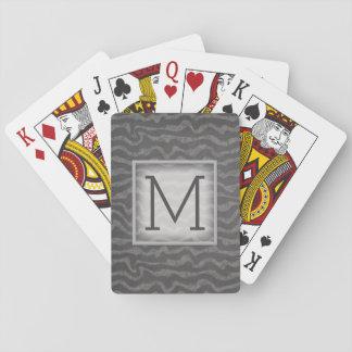 Gray Chalkboard Ocean Waves with Monogram Poker Deck