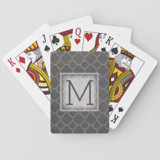 Gray Chalkboard Quatrefoil Pattern with Monogram Poker Deck
