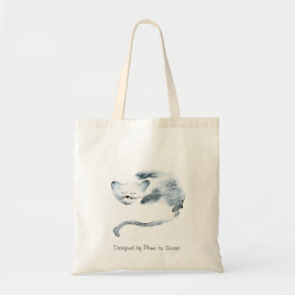 Gray Chaquarelle sleeping Budget Tote Bag
