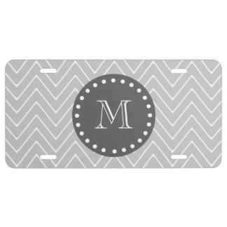 Gray & Charcoal Modern Chevron Custom Monogram License Plate