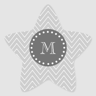 Gray & Charcoal Modern Chevron Custom Monogram Star Sticker