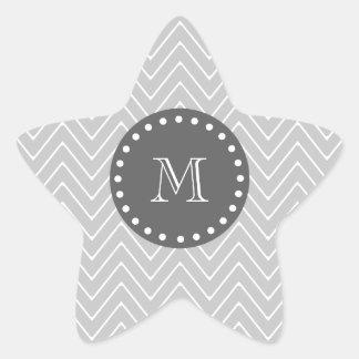 Gray & Charcoal Modern Chevron Custom Monogram Star Sticker