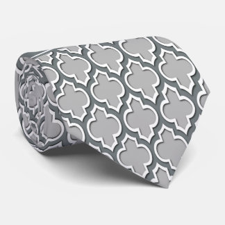 Gray Charcoal Moroccan #5DS Charcoal Name Monogram Tie