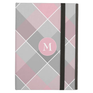 gray checkered plaid with monogram on pink iPad air case