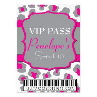 Gray Cheetah VIP Pass Sweet 16 Invitation