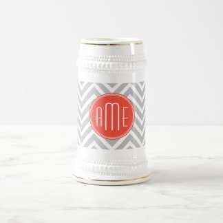 Gray Chevron and Coral Custom Monogram Beer Steins