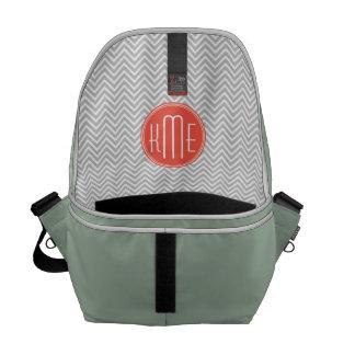 Gray Chevron and Coral Custom Monogram Courier Bag