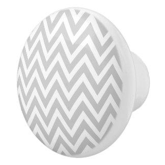 Gray Chevron Ceramic Knob