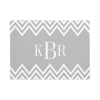 Gray Chevron Custom Monogram Doormat