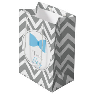 Gray Chevron Gender Reveal Bow Tie Team Boy Medium Gift Bag