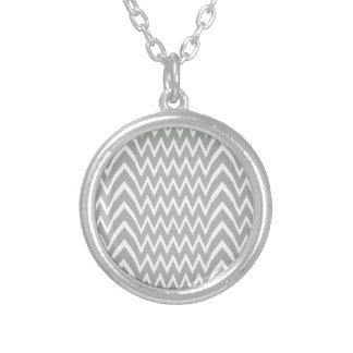 Gray Chevron Illusion Silver Plated Necklace