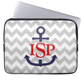 Gray Chevron Monogram Anchor Laptop Sleeve