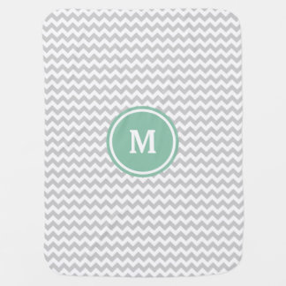 Gray Chevron Monogram Baby Blanket