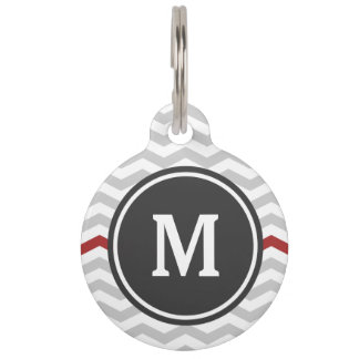 Gray Chevron Monogram Pet Name Tag