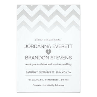 Gray Chevron Ombre Wedding Invitations