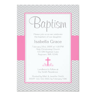 Gray Chevron Pink Cross Girl Baptism Christening 5x7 Paper Invitation Card