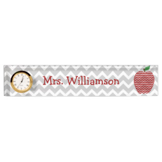Gray Chevron Red Chevron Apple Teacher Nameplate