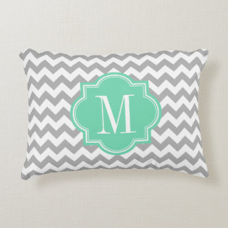Gray Chevron with Mint Monogram Decorative Cushion